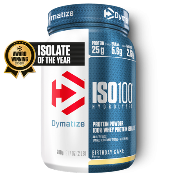 Dymatize ISO 100 Hydrolyzed 900g Birthday Cake bei Body World Fitness Shop Basel kaufen