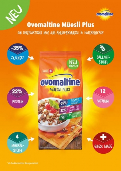 Ovomaltine Low Carb Protein Müsli Informationen