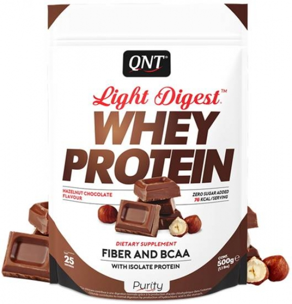 QNT Light Digest Whey Protein Pulver Schokolade-Haselnuss kaufen bei Body World Fitness Shop Basel